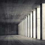 3d empty interior and concrete walls and columns. Abstract architecture background, empty interior and concrete walls and columns, 3d illustration with retro Royalty Free Stock Photo