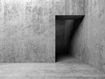 3d empty interior, doorway in gray concrete wall Stock Photography