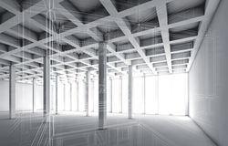 3d empty interior with wire frame effect Royalty Free Stock Photos