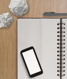 3d empty  mobile phone and note book Stock Images