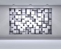 3d empty niche with spotlights and chaotic abstract cubes for ex. Hibit in the grey interior Stock Image