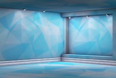 3d empty niche with spotlights for exhibit in the blue triangula. R interior Stock Image