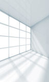 3d empty office room fragment with window. Abstract white interior, empty office room fragment with window. 3d render illustration royalty free illustration