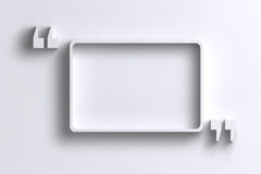 3D empty quotation marks frame on white wall Royalty Free Stock Photo