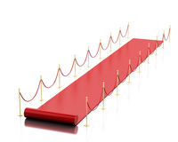 3d Empty red carpet against white background. Royalty Free Stock Photo