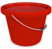 3d empty red plastic bucket Stock Photography