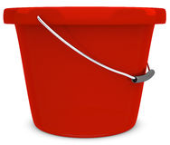 3d empty red plastic bucket Stock Photos