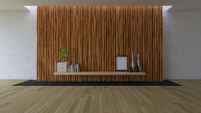 3D empty room with bamboo wall Stock Image