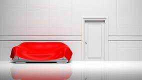 3D empty room, walls, door and sofa vector illustration