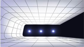 3d empty scene with lights. 3d empty podium scene with lights in the dark Stock Photo