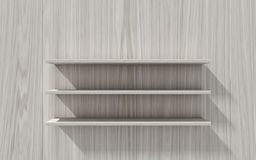 3d  Empty shelf for exhibit on wood background. Concept Royalty Free Stock Photo