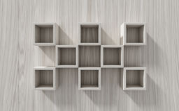 3d  Empty shelf for exhibit on wood background. Concept Stock Photography