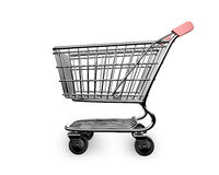 3D empty shopping cart side view Royalty Free Stock Images