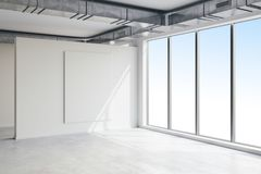 3d empty space interior with big windows and view. 3d empty space interior with big windows and nice view Stock Images