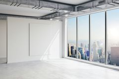 3d empty space interior with big windows and view. 3d empty space interior with big windows and nice view Royalty Free Stock Images