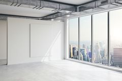 3d empty space interior with big windows and view. 3d empty space interior with big windows and nice view royalty free illustration