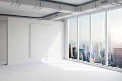 3d empty space interior with big windows and view. 3d empty space interior with big windows and nice view Royalty Free Stock Photography