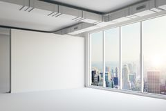 3d empty space interior with big windows and view. 3d empty space interior with big windows and nice view Stock Photo
