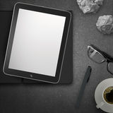 3d empty tablet and a cup of coffee with note pad Royalty Free Stock Images