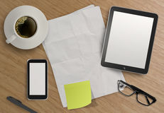 3d empty tablet and a cup of coffee Stock Photo