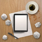 3d empty tablet and a cup of coffee Stock Image