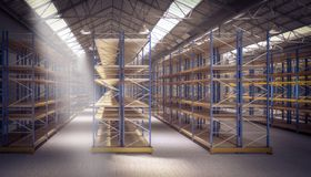 3d empty warehouse vector illustration