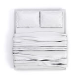 3d empty white bed. On white background Stock Photo