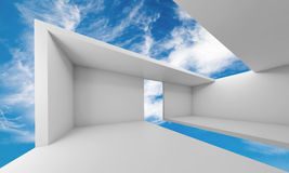 3d empty white futuristic interior and blue sky. Abstract architecture, empty white futuristic interior and blue sky on a background, 3d illustration stock illustration