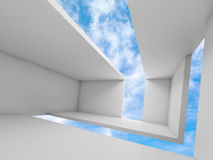 3d empty white futuristic interior and sky Royalty Free Stock Photo