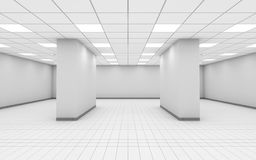 3 d empty white office room interior with columns. Abstract empty white office room interior with columns, ceiling lights and floor tiling, 3d illustration vector illustration