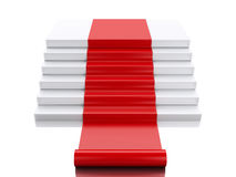 3d Empty white podium with red carpet. Success concept. 3d renderer image. Empty white podium with red carpet. Success concept. Isolated white background Royalty Free Stock Photo