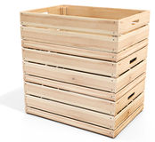 3d empty wooden crate stack. On white background stock image