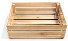 3d empty wooden crate. On white background stock photography