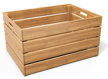 3d empty wooden crate. On white background stock photo