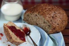 dżemu chlebowy szklany mleko Fotografia Stock