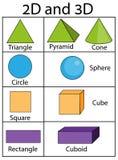 2D en 3D geometrische vormen en cijfers Onderwijsinfographics voor jonge geitjes Kinderen visuele hulp vector illustratie