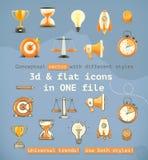 3d en vlakke vastgestelde pictogrammen Stock Foto's