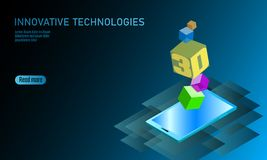 3D-enabled display smartphone concept. Stereoscopic output view isometric 3D flat business mobile phone innovation. Technology. Web touch screen modern camera vector illustration
