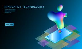 3D-enabled display smartphone concept. Stereoscopic output view isometric 3D flat business mobile phone innovation. Technology. Web touch screen modern camera royalty free illustration