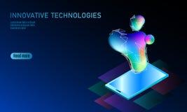 3D-enabled pokazu smartphone pojęcie Stereoskopowa isometric 3D innowaci biznesowa technologia Kolorowy wibrujący kolor Royalty Ilustracja