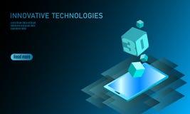 3D-enabled pokazu smartphone pojęcie Stereoskopowego wydajność widoku 3D telefonu komórkowego isometric płaska biznesowa innowacj Ilustracji