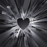 3d enegrecem o fundo de cristal do coração, objeto cristalizado, sumário Fotos de Stock