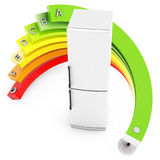 3d Energy efficiency concept with fridge. On white background Stock Images