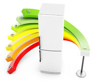 3d Energy efficiency concept with fridge. On white background Stock Photography