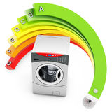 3d Energy efficiency concept with washing machine. On white background Stock Photos