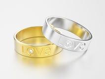 3D engagem белого золота иллюстрации 2 или серебряного и желтого золота Стоковое Фото