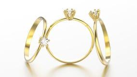 3D engageme tradicional do solitário do ouro amarelo da ilustração três Foto de Stock Royalty Free