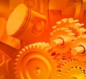 3d engine pistons and cog wheels. Background Stock Photography