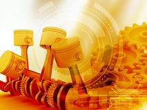 3d engine pistons and cog wheels. Background Royalty Free Stock Photos