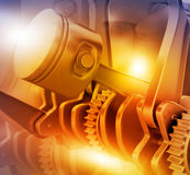 3d engine pistons and cog wheels. Background Royalty Free Stock Photo